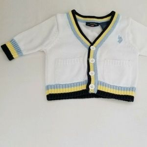 Ralph Lauren Boys 0/3 Months White V Neck Cardigan